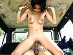 bangbus: Petite girl gets to ride a cock