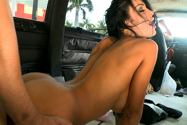 Hot pornstar rides the BangBus Icon
