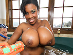 brownbunnies: Big black tits get cum on them