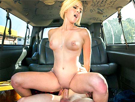 Pretty blonde tricked on the BangBus
