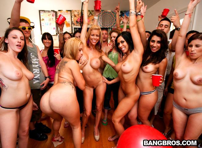 Porn stars raid the dorm full of college boys